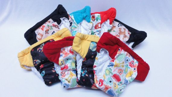 Set of 8 potty training pants, ecofriendly cloth pull up,  washable cloth diapers, outdoor training underwear, daytime training pants