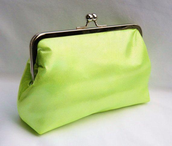 Neon Green Clutch, Evening Clutch, Bridesmaid Clutch. Wedding Clutch Purse on Etsy, $53.53