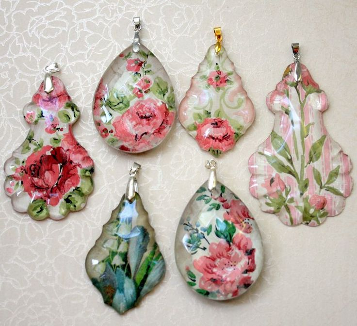 Chandelier crystal pendants using Mod Podge by Mitzi Curi at www.mitzismiscellany.com