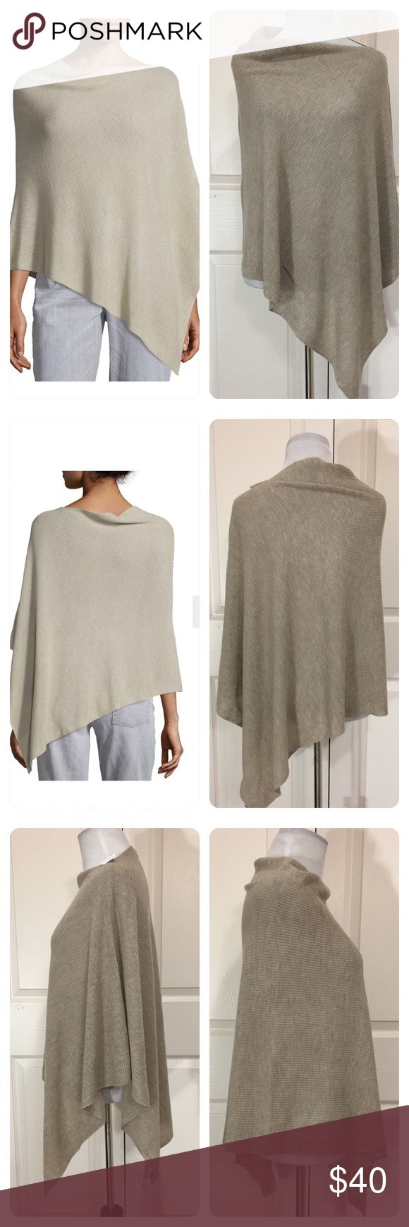 """NEw! Eileen Fisher Asymmetrical Poncho New with tags from a secondary market store!  Eileen Fisher 'Maple Oat' Tencel/Merino Wool Asymmetrical Poncho One Size  Retails for $158  Poncho Features          Asymmetrical hem updates rib-knit poncho          Cowlneck          Three-quarter poncho sleeves          Asymmetrical hem          Pullover style          About 35"""" from shoulder to hem at longest point          Tencel/merino wool Sized as """"one size"""". Will mark a Medium. Eileen Fisher…"""