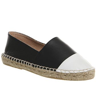 Office Lucky Espadrille With Toe Cap Black Leather White Toe Cap - Flats