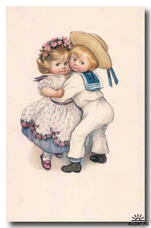 Старые открытки рисованные, анимация пульсирует картинки