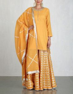 Orange Kurta and Sharara Set-SUKRITI & AAKRITI