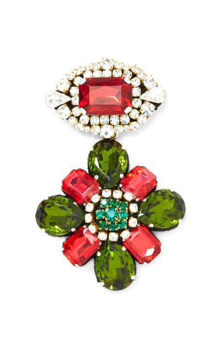 Crystal Flower Brooch by Stella Jean Now Available on Moda Operandi