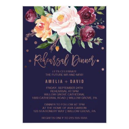 Autumn Floral Rose Gold Wreath Rehearsal Dinner Card - autumn wedding diy marriage party personlize idea