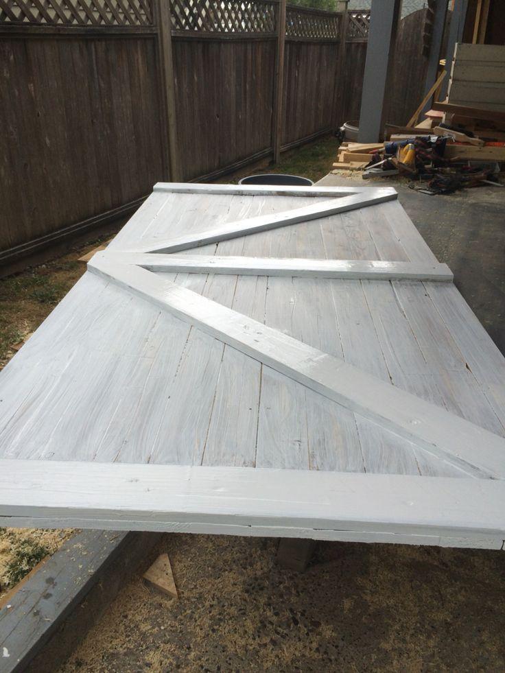 White barn door being built