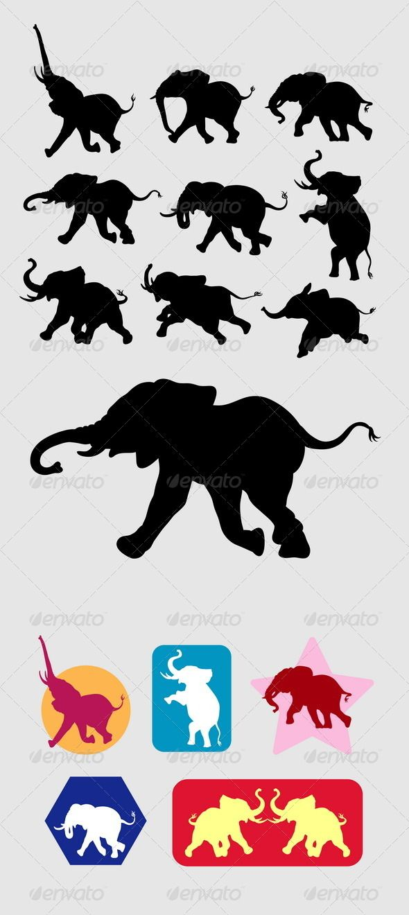 Elephant Running Silhouettes #GraphicRiver 9 Elephant in action silhouettes vector with sample alternative symbol and color. Can use any size you want without loss resolution. Good use for your symbol, logo, sticker design, wallpaper, or any design you want. ZIP included : AI rgb, EPS cmyk, JPEG high resolution, PNG transparent, and CDR (coreldraw vector) Created: 10July13 GraphicsFilesIncluded: TransparentPNG #JPGImage #VectorEPS #AIIllustrator Layered: No MinimumAdobeCSVersion: CS Tags…
