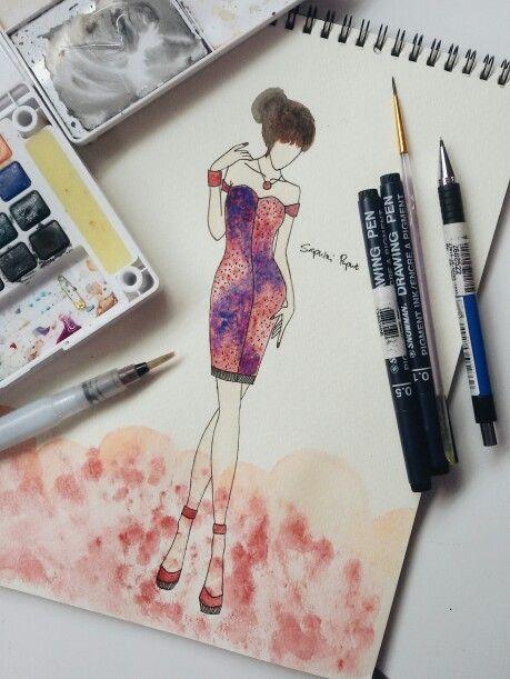 Fashion Drawing #fashion #drawing #galaxy #dress #little #cocktaildress #prom