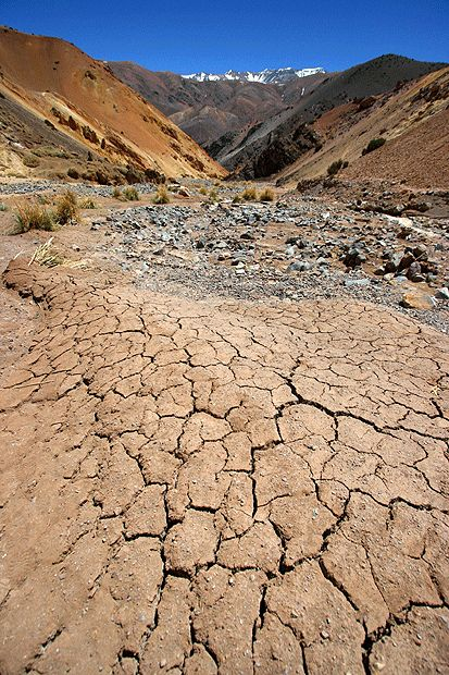 A parched riverbank near Pisco Elqui, Chilean Andes  Sophie Carr of London