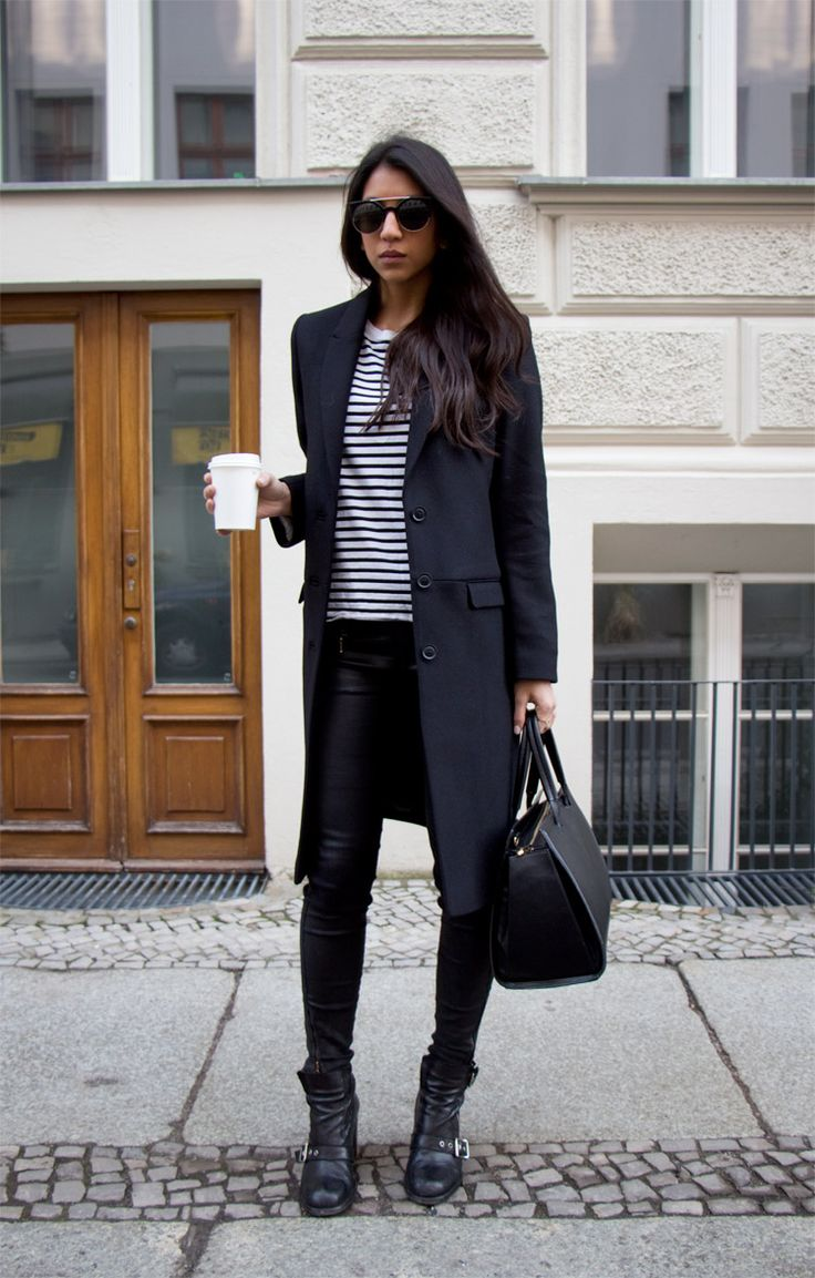 plain outfit black coat white