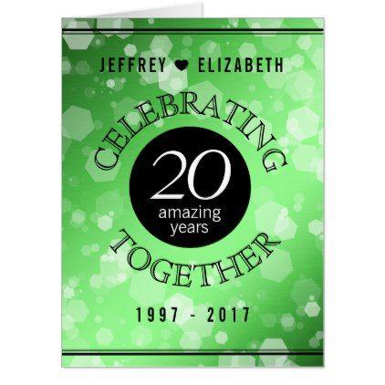 Elegant 20th Emerald Wedding Anniversary Card - confetti wedding wedding day party