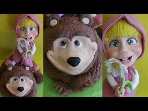 Tutorial Masha e l'orso - Masha and the bear cake topper fondant pasta di zucchero torta decorata - YouTube