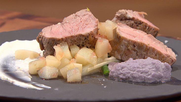 Filet de porc, purée de chou rouge et salade d'haricots verts