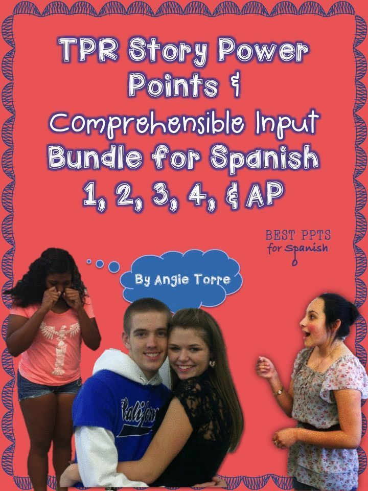 TPRS and Comprehensible Input for Spanish 1-AP: In this packet are 58 goofy, engaging TPR stories, puppet shows, videos, dialogues, readings, illustrated TPR Story Power Points, listening and cultural activities, songs, internet links, audio files and a competition which reinforce the Spanish Three grammatical concepts. 121 Power Point Slides; 189 Documents
