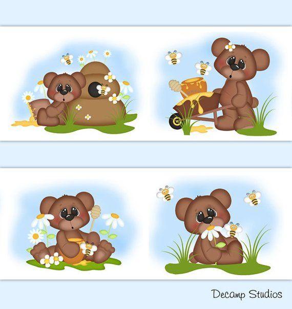 TEDDY BEAR BEE Baby Girl Nursery Wallpaper Border Wall Art