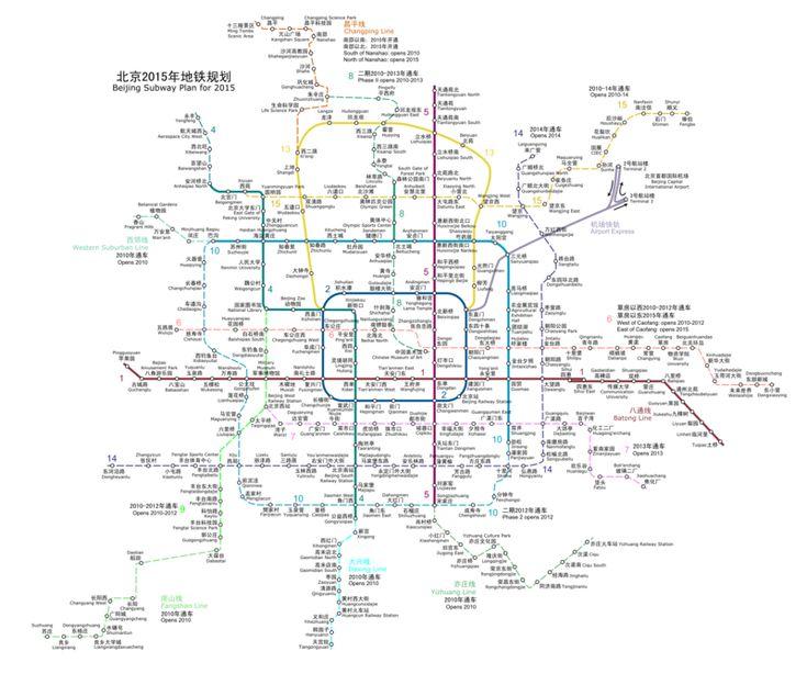 Beijing dispose d'un système de métro (train souterrain metropolitain - Métro de Beijing) complété par un réseau de trains de banlieue. Il sert environ 8 millions de personnes par jour. Il est exploitée et gérée par deux entreprises publiques: la Beijing Mass Transit Railway Operation Corp., Ltd et la Beijing MRT Corp. Ltd. #Métro #Beijing  #plan