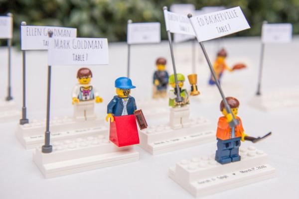 Lego escort cards. LOVE THIS. They double as a favor!