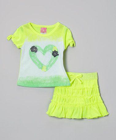 Look at this #zulilyfind! Lime Rhinestone Heart Top & Skirt - Infant, Toddler & Girls by Diva #zulilyfinds