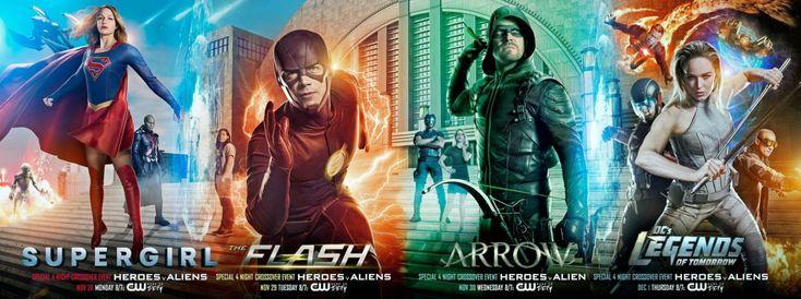 """ATUALIZADO em 23/11/2016 com um teaser de DC's Legends of Tomorrowe um """"supercartaz"""" do crossover, na verdade quatro cartazes de cada uma das séries que, unidos, mostram ao fundo…"""