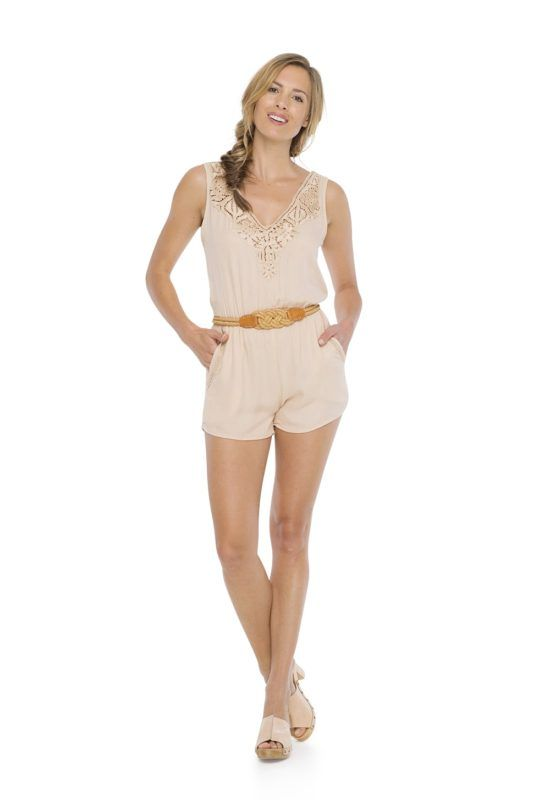 HELEN JUMPSUIT in Peach -- Sleeveless short jumpsuit with elastic around the waist Crossing open on the back and v- neckline with detail kerawang embroidery by hand