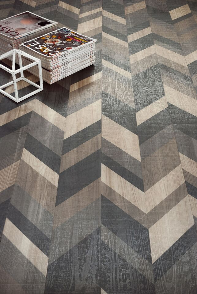 """Sant'Agostino - Shadewood. The combination of these five warm grays accentuates the angular fold of this """"wood-looking"""" porcelain stoneware. @sant_agostino #Cersaie2015"""