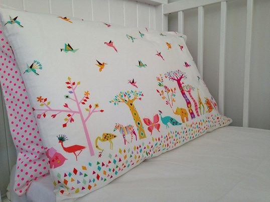Animal safari pillowcase. Handmade in NZ. 100% cotton. www.lovefromfriday.co.nz