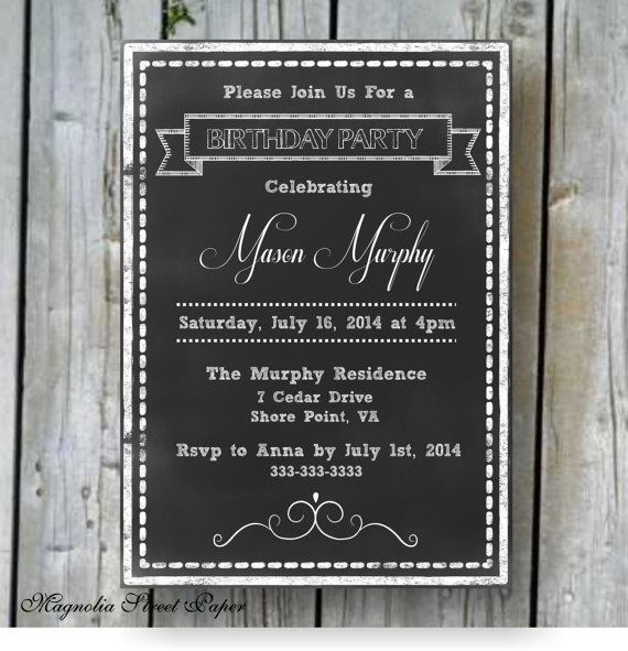 Chalkboard Birthday Invitation, Custom Printable