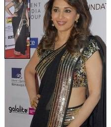 Buy Black embroidered net saree with blouse madhuri-dixit-saree online