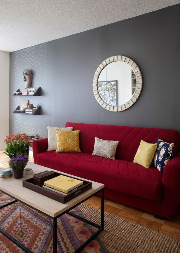 living room red sofa nyc diana mui interior design west elm box frame basic coffee table