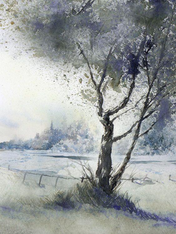 Winter Solitude - Canadian Art Watercolour Landscape - 8x10 Print.