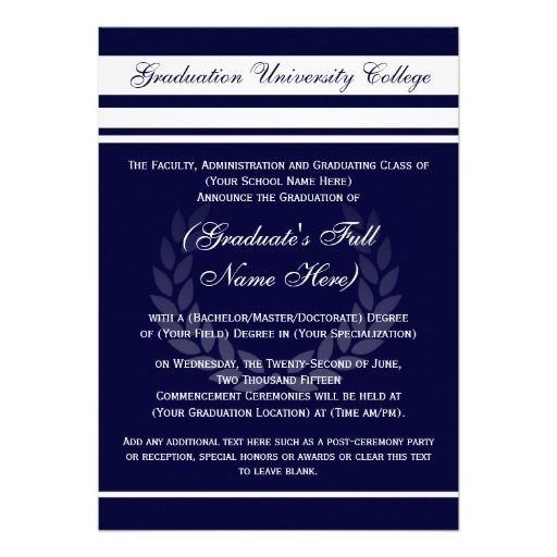 32 best graduation invitations formal images on pinterest formal formal college graduation announcements blue stopboris Choice Image
