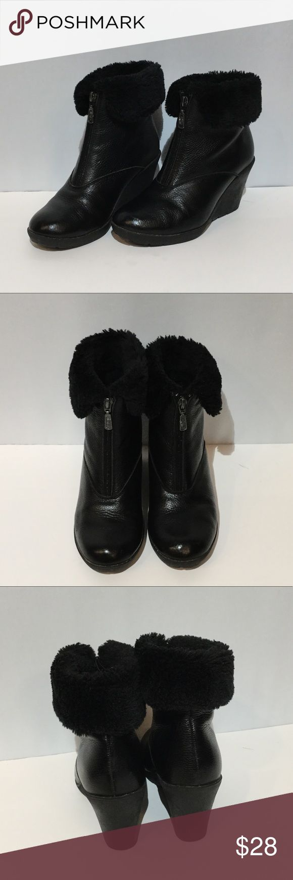 Khombu Booties 3 Inch Heel 🆕 Khombu boots with 3 inch rubber wedge heel. Khombu Beacon Boot style in black leather upper with black fur. Comfortable to walk in with good grip for winter. Worn but still look in great shape. Zipper front with hidden water proof attached tongue. Size 7. Khombu Shoes Winter & Rain Boots