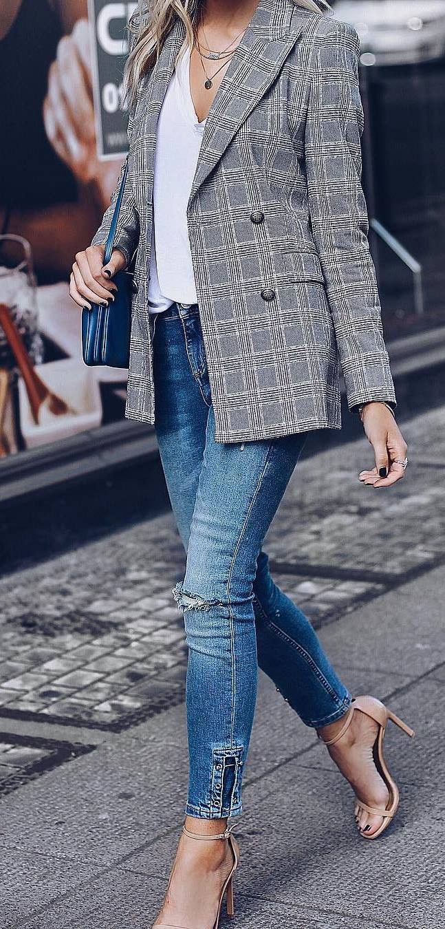 office style addiction blazer + bag + top + skinny jeans + heels