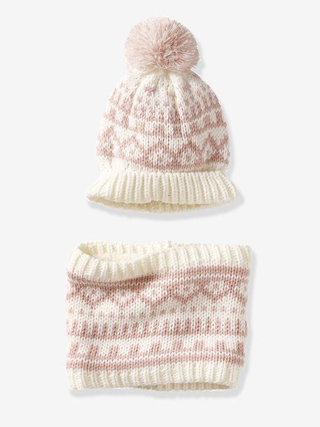 Conjunto de gorro y snood estilo jacquard para bebé - Beige medio  estampado+Blanco claro 3324c0294a5