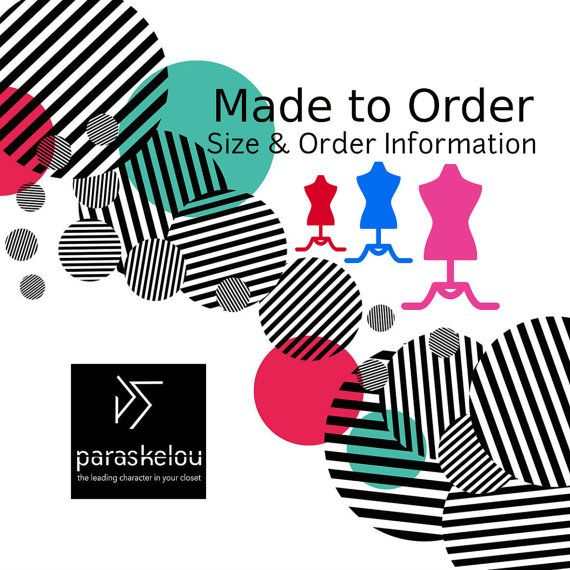 Size & order guide made to order extravagant by paraskeloufashion