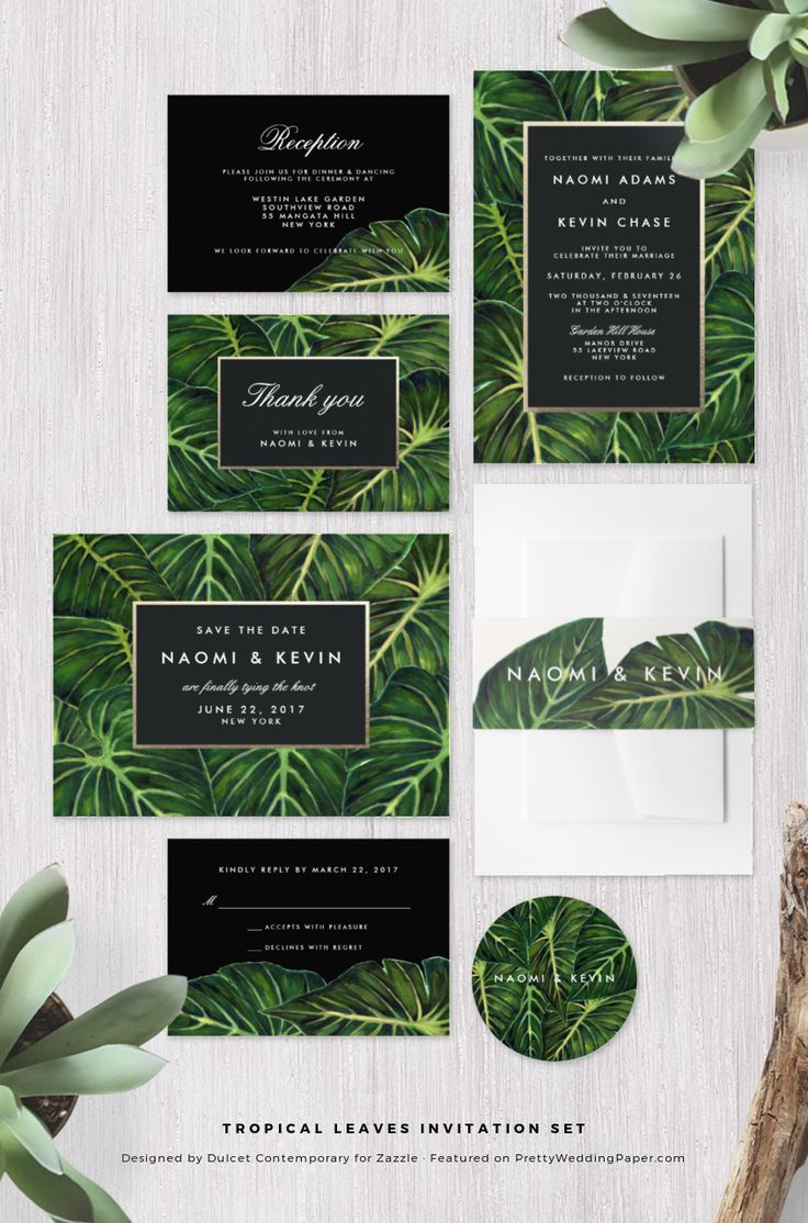 Tropical Leaves Botanical Green Wedding Invitation Collection designed by Dulcet Contemporary. ♥ Repinned by Annie @ www.perfectpostage.com