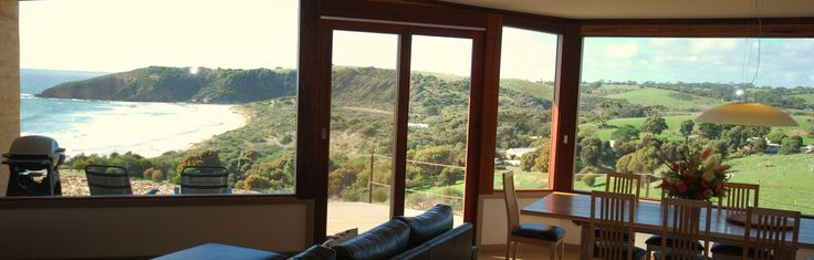 Sheoaks on Kangaroo Island is a delightful 4 bedroom rammed-earth home . Nestled into the hill overlooking Snellings beach, Sheoaks is only a three minute walk away with sweeping views to the beach.With an open fireplace, elevated round sun bed and entertaining deck, Sheoaks human scale design and luxury furnishing is the perfect retreat for both a bush or seaside escape.