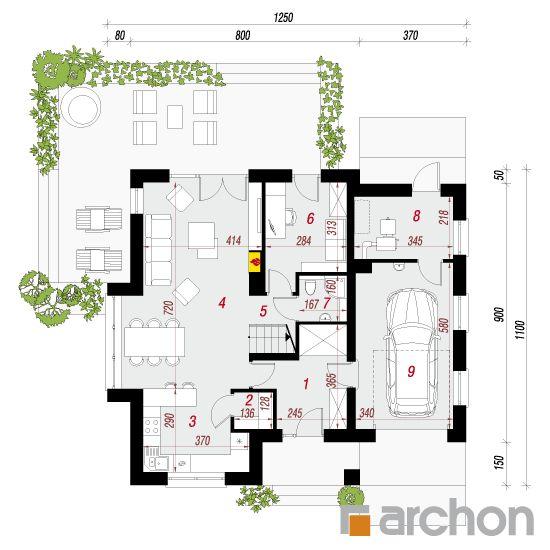 projekt Dom w miłowonkach 2 rzut parteru