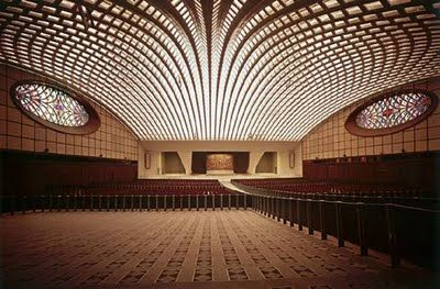 Papal Audience Hall in the Vatican City, completed in 1971.  Structure: A ribbed, pre-cast concrete structure.  Seats: 12,000.  Designer: Pier Luigi Nervi