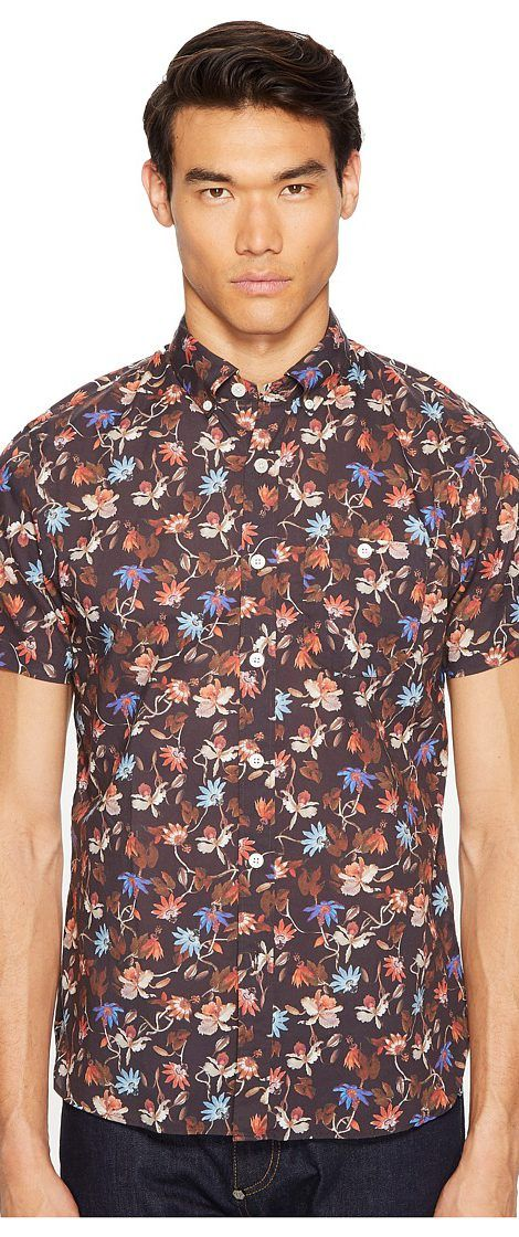 Todd Snyder Short Sleeve Floral Print Shirt (Brown) Men's Short Sleeve Button Up - Todd Snyder, Short Sleeve Floral Print Shirt, SH117083, Apparel Top Short Sleeve Button Up, Short Sleeve Button Up, Top, Apparel, Clothes Clothing, Gift - Outfit Ideas And Street Style 2017