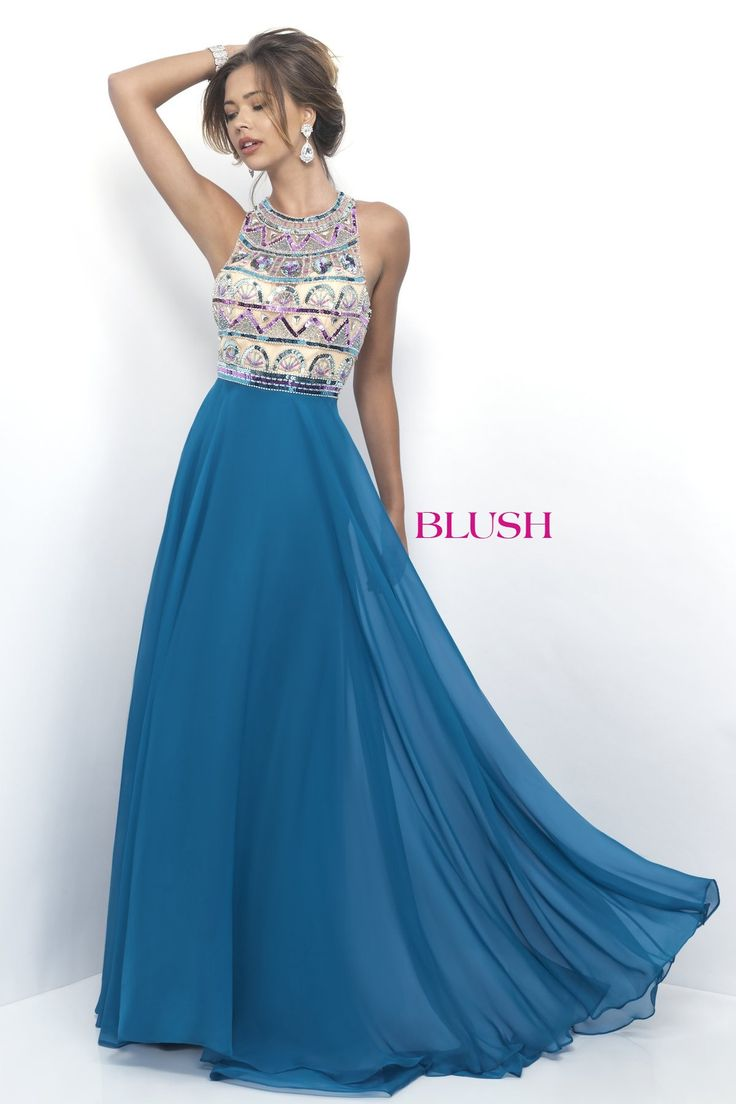 Blush Prom 11349 Teal Blue Sequin Chiffon High Neck Prom Dress