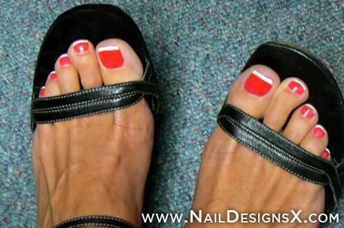 unique red toenails ideas