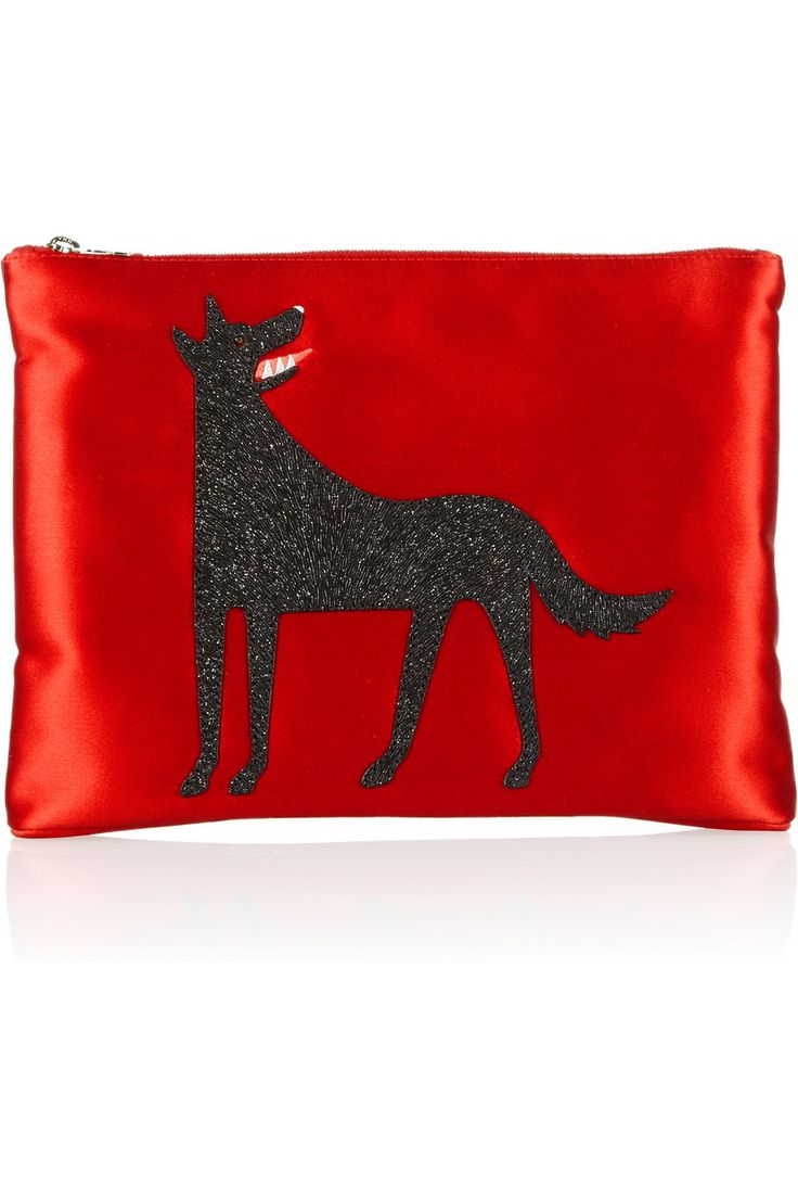 Charlotte Olympia | Wolfie suede-embellished satin clutch | NET-A-PORTER.COM