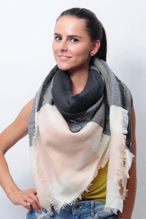 Gris clair rose noir couverture écharpe pour Zara Tartan femme couleur bloc femmes inspiré surdimensionné hiver grandes écharpes cadeaux