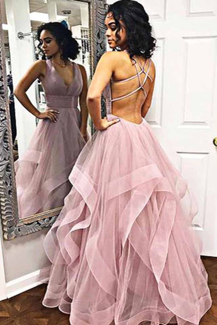 Pink V Neck Tulle Long Open Back Prom Dress, Evening Dress from Girlsprom