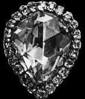 The Stuart Diamond - bought in 1690 by William (House of Orange) and Mary (House of Stuart) - 39.75 ct rose-cut pear shaped stone - set in different pendants and necklaces over many years - central stone in 1897 tiara made for new Queen of the Netherlands (House of Orange) Wilhelmina
