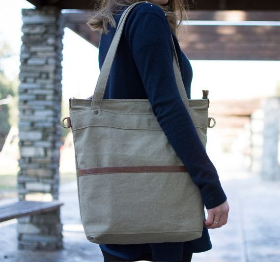 Canvas tote bag  Waxed canvas bag  Canvas laptop tote  by Laroll