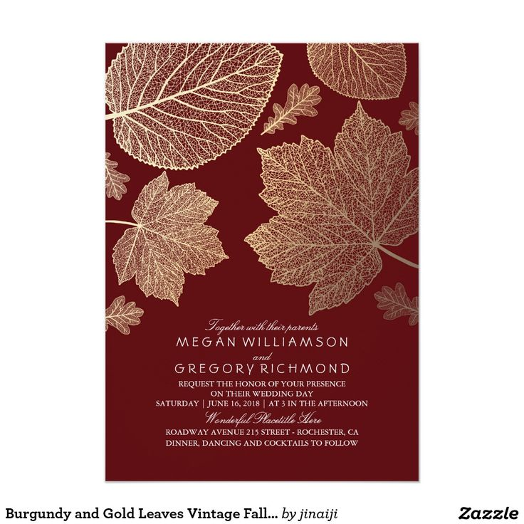 Burgundy and Gold Leaves Vintage Fall Wedding
