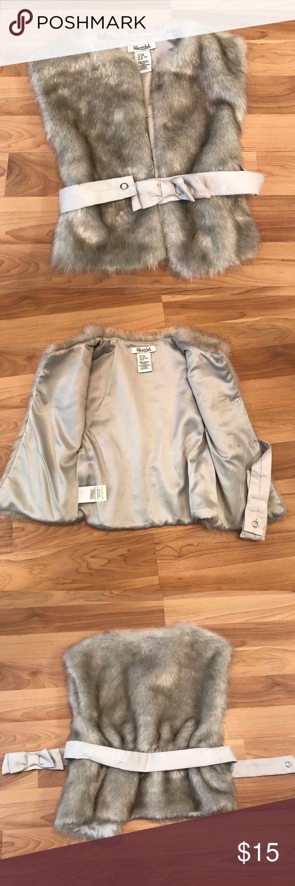 Adorable faux fur vest size 24 months EUC fur vest with bow tie belt, well made! Jackets & Coats Vests