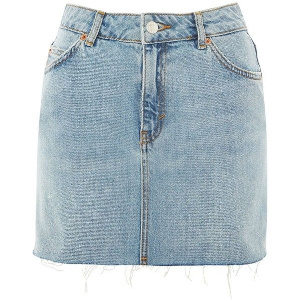 Topshop Petite High Waisted Denim Skirt (270 BOB) ❤ liked on Polyvore featuring skirts, mid stone, high rise skirts, knee length denim skirt, denim skirt, high-waist skirt and blue denim skirt